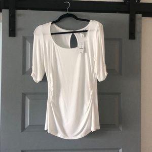 NWT White House Black Market key hole white blouse